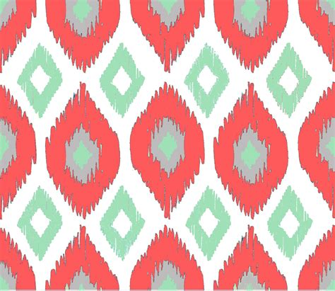 ikat pattern ikat fabric by the yard coral mint gray and white