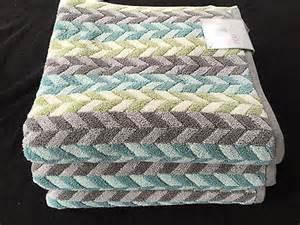 Peri chevron aqua green grey print bath towels set of 3