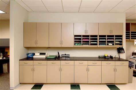 copy room modular millwork cabinets laminate and powder coat workstations