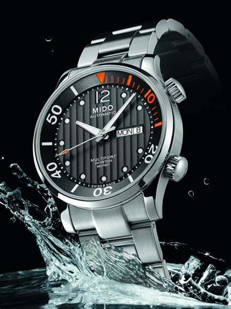 Mido Multifort Automatic Diver M0059303705000 mido multifort two crowns automatic skin diver ref m005