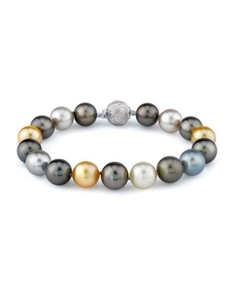 bead source 11 12mm tahitian golden south sea pearl bracelet