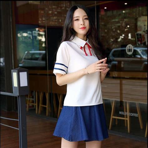 Korean Student Costume Setelan Anak japanese school turn collar sleeve sailor tops skirt navy school style