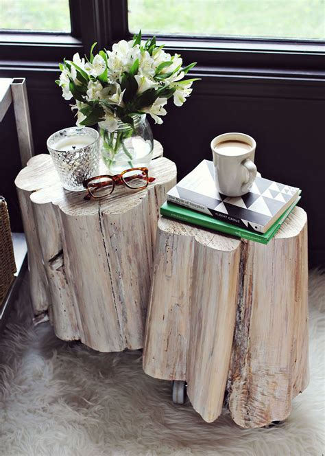 wood stump stool diy 11 gorgeous diy side tables you can totally make brit co