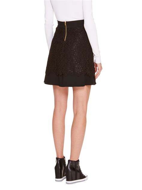 dkny lace overlay a line skirt in black lyst