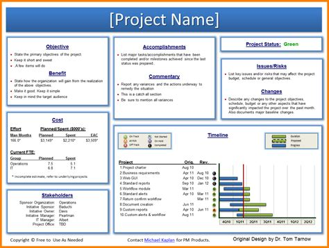 28 program management reporting template project