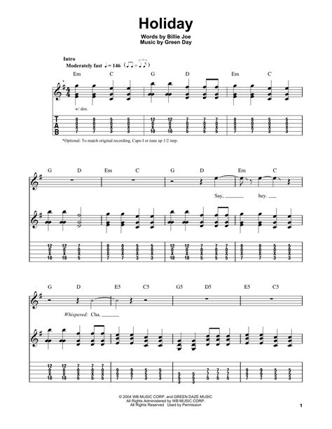 by green day easy guitar tab guitar instructor