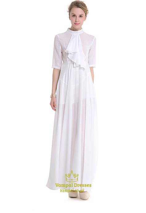 white elegant  sleeve high neck chiffon maxi dress  ruffle front vampal dresses