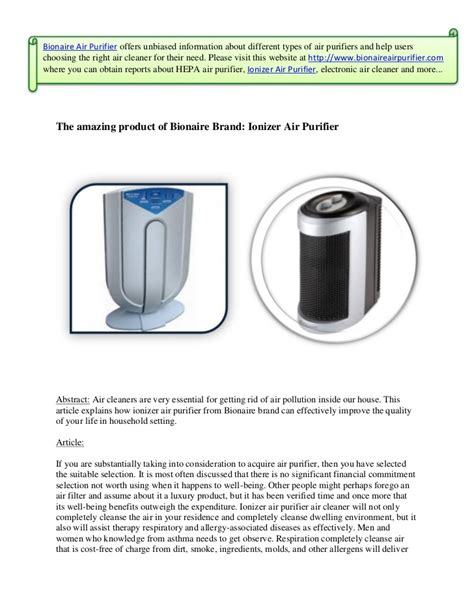 amazing product  bionaire brand ionizer air purifier