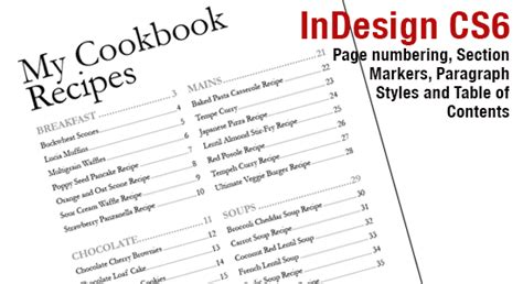 table of contents template indesign indesign cs6 page numbers section markers and table of