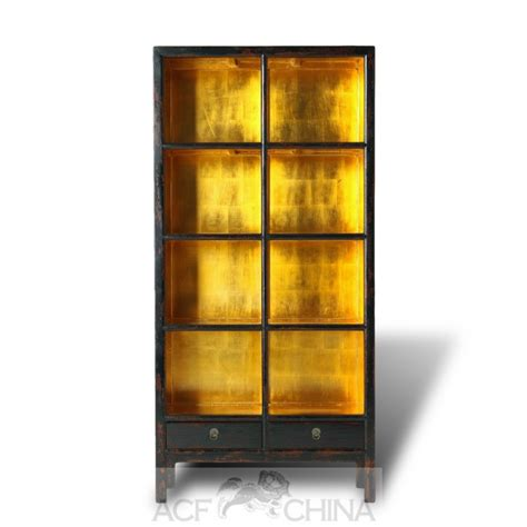 Black lacquer and gold leaf bookcase   ACF China