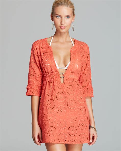 dress cover up lyst echo eyelet ring dress swimsuit cover up in