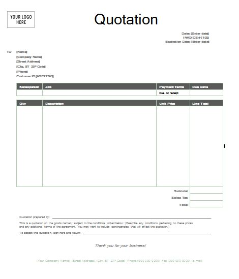 printable quote template quotation template format template
