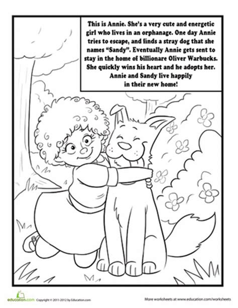 annie the musical coloring page worksheets