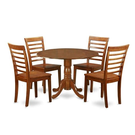 Brown Dining Table Set Shop East West Furniture Dublin Saddle Brown 5 Dining Set With Dining Table At Lowes