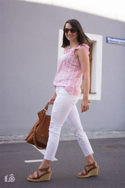 Pink Style Stripe Casual Top 24627 pink ruffle stripes top girly feminine white crop denim distressed summer casual style