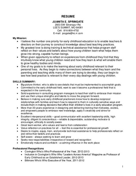 Resume Sles Early Childhood Education Juanita Springate Resume 13 Ec Objective
