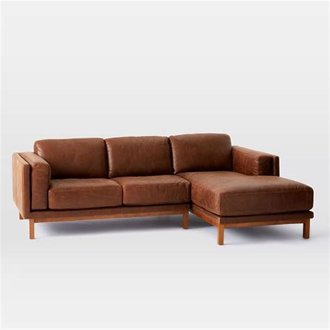 2 Leather Sectional With Chaise Dekalb Leather 2 Chaise Sectional West Elm