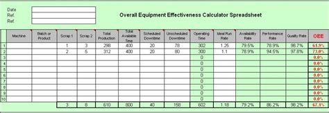 Oee Screenshot Page Oee Calculation Excel Template