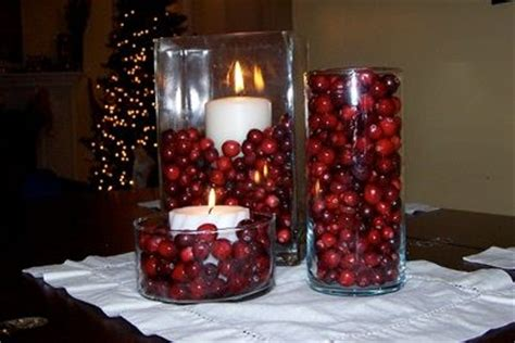 centerpieces with ornaments cranberry as vase filler decorating house stuff