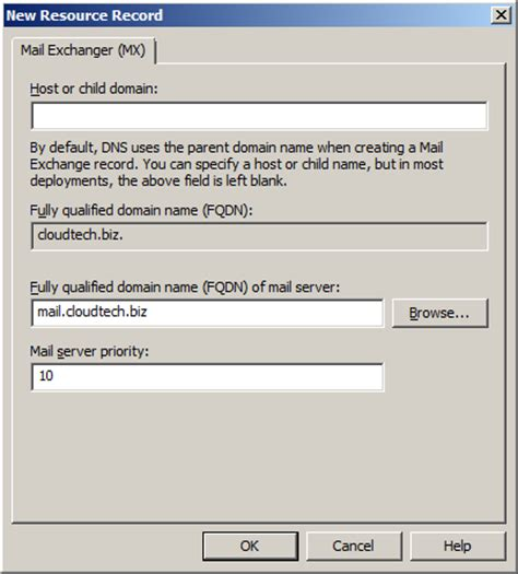 Mail Records Create Various Dns Resource Record In Windows Server 2008
