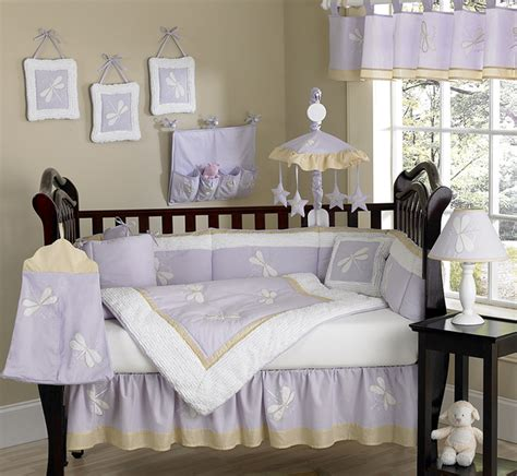Unique Discount Purple Dragonfly Baby Girl Designer Crib Baby Crib Bedding Sets Purple