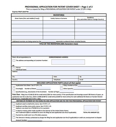 patent specification template cover sheet 13 free word pdf documents