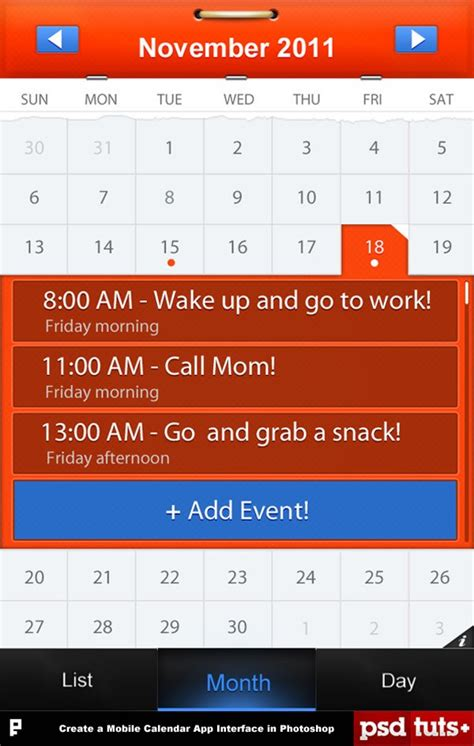 make a calendar app 33 iphone app design photoshop tutorials
