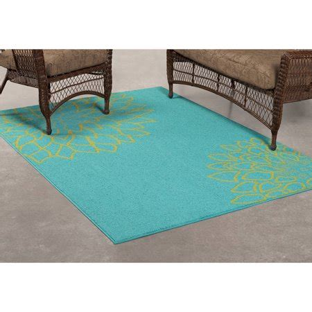 10 By 16 Outdoor Rug - mainstays outdoor flower polypropylene rug turquoise 6
