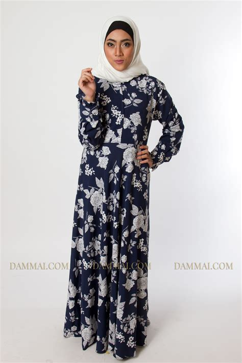 Baju Muslim Gamis Wanita Maxroses blue roses gamis dammai