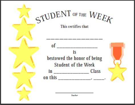 of the week certificate template certificates for teachers student of the week 2