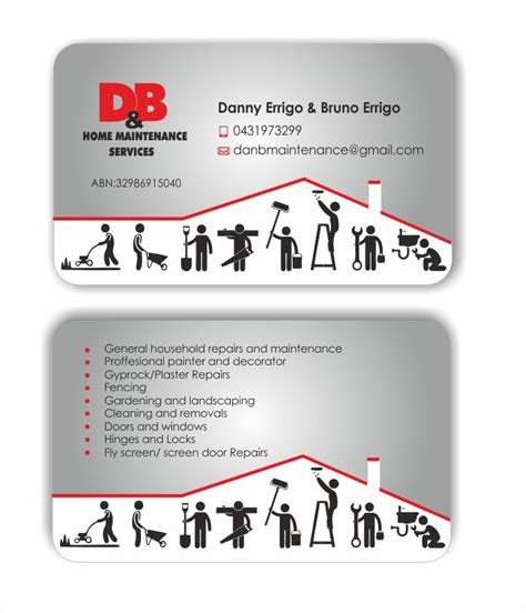 modern professional business card design for d b home