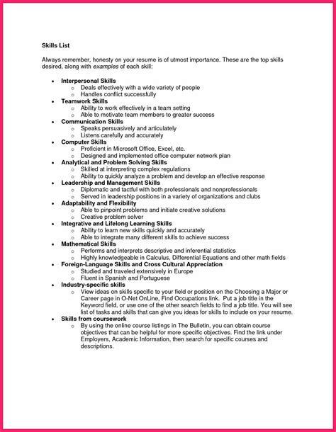skills exle resume skills exles for resume bio letter format