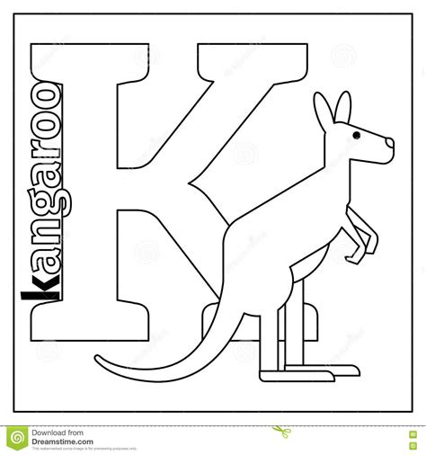 K Kangaroo Coloring Page by Kangaroo Letter K Coloring Page Stock Vector
