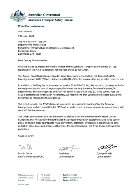 Recommendation Report Letter Of Transmittal Australian Transport Safety Bureau Atsb Annual Report 2013 14