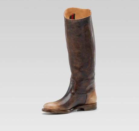 gucci flat boot in brown lyst