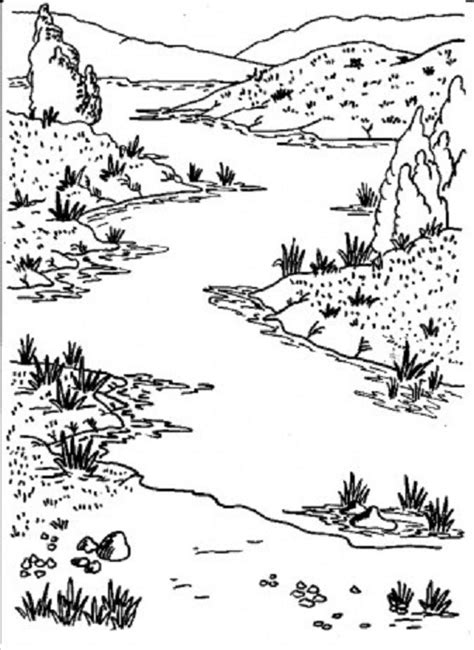 coloring page river nature coloring pages