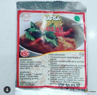 Bumbu Gulai Non Msg Nafisa detil produk bumbu instan non msg gulai 20gr