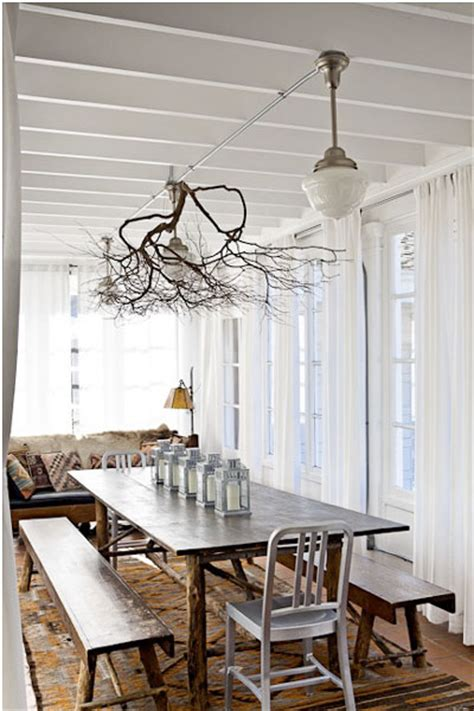 Tree In Dining Room by Using Rustic Industrial Dining Furniture