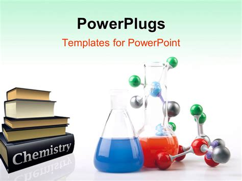 Powerpoint Template Pile Of Chemistry Textbooks With Colored Solutions In Beaker And Molecular Powerpoint Templates Chemistry Free