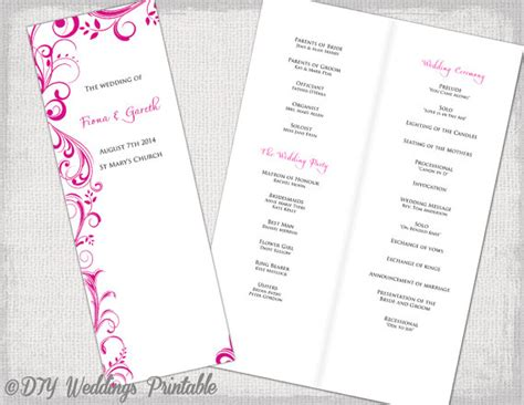 wedding order of service free template a4 wedding order of service template begonia pink