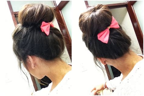 donut hairstyle with bangs hair donut pink bow hairstyle beauty more