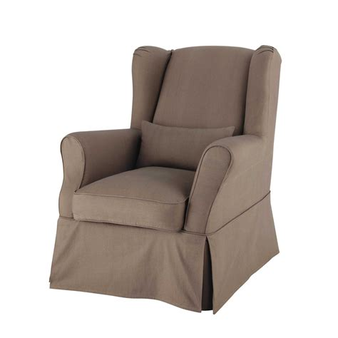 armchair arm covers cotton armchair cover in taupe cottage maisons du monde