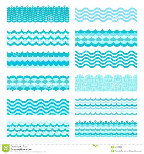 collection of simple wave vector illustration of collection of marine waves sea wavy water