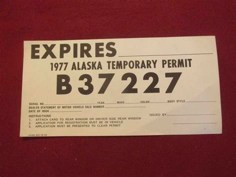 How To Make Temporary Paper - 1960 s 1970 s alaska temporary paper license plate