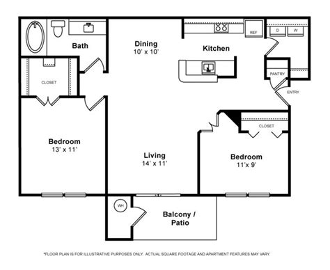 2 bedroom 1 bath apartment floor plans with murray