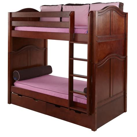 platform bed in chestnut with curved bed ends by maxtrix 200 tall bunk bed in chestnut with curved bed ends by maxtrix