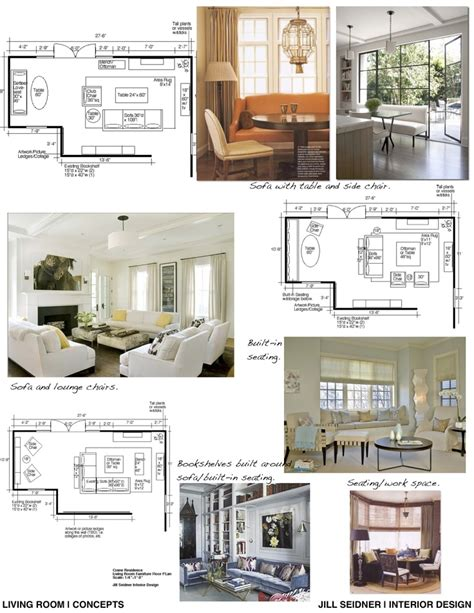 room layout for presentation concept board and furniture layout for a living room