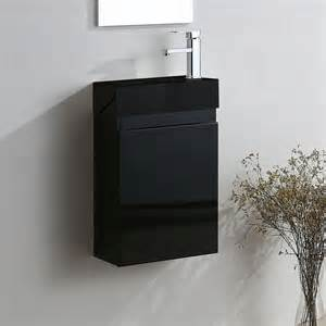 felix wall hung black gloss vanity unit black