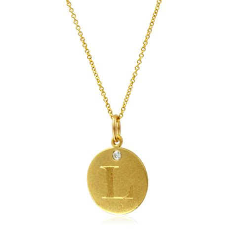 Letter Pendant Initial Necklace Letter L Pendant With 18k Yellow Gold Chain