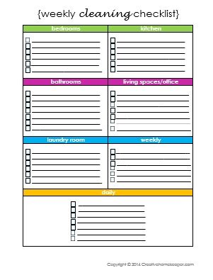 weekly cleaning checklist free printable creative home